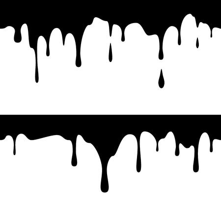 Inchiostro nero orizzontale senza soluzione di continuità. Vernice gocciolante. Gocce liquide. Illustrazione vettoriale