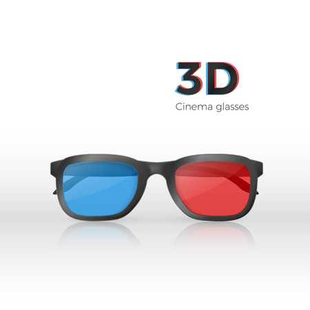 Realistic 3d cinema glasses front view. Plastic glasses with red and blue glass for watching movies. Vector illustration