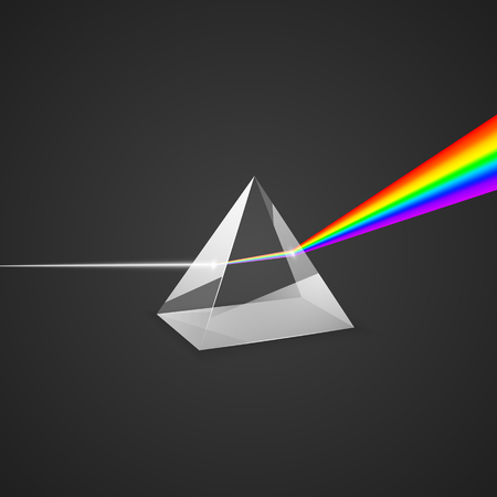 Dispersion. Glass prism and beam of light. Science experiment with light. Colorful spectrum of light. Vector illustration