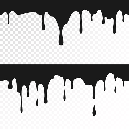 Black ink drips. Seamless Dripping Paint Texture. Vector illustration isolated on white background Illustration