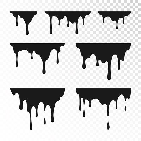 Tropfende Farbe Set. Flüssigkeit tropft. Schwarze Tinte läuft. Vektorillustration lokalisiert auf transparentem Hintergrund Vektorgrafik
