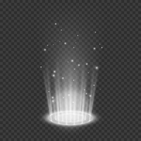 Teleport light effects. Magical portal. Futuristic holographic design element. Vector illustration isolated on transparent background Illustration