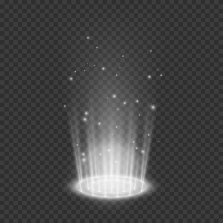 Teleport light effects. Magical portal. Futuristic holographic design element. Vector illustration isolated on transparent background 向量圖像