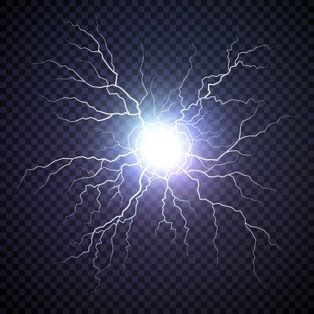 Boulon plasma. Boule de feu sur fond sombre. Lumière de flash d'orage de tonnerre. Foudre électrique réaliste. Illustration vectorielle isolée sur fond transparent
