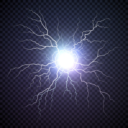 Plasma bolt. Fireball on dark background. Thunder storm flash light. Realistic electricity lightning. Vector illustration isolated on transparent background Ilustração