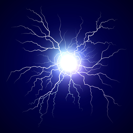 Plasma bolt. Fireball on dark background. Thunder storm flash light. Realistic electricity lightning. Vector illustration
