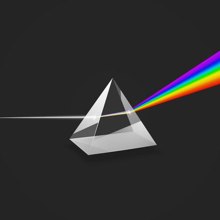 Dispersion. Buntes Lichtspektrum. Experimentieren Sie mit Glasprisma und Lichtstrahl. Vektor-Illustration