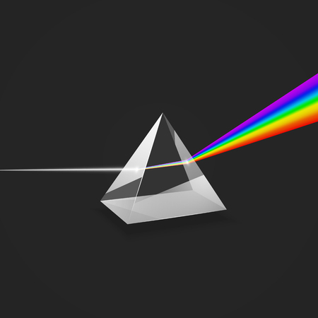 Dispersion. Colorful spectrum of light. Experiment with glass prism and beam of light. Vector illustration