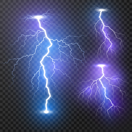 Lightning. Thunder storm realistic lightnings set. Magic and bright light effects. Vector Illustration isolated on transparent background
