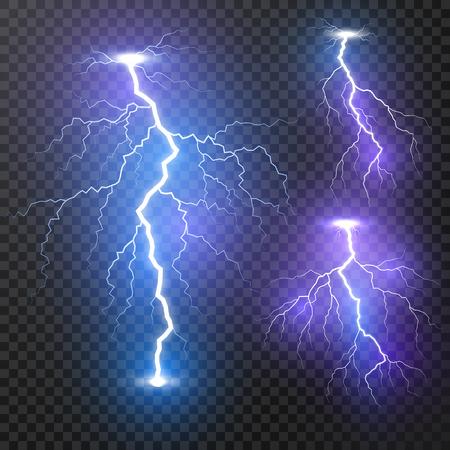 Relámpago. Conjunto de relámpagos realistas de tormenta de truenos. Efectos de luz mágicos y brillantes. Ilustración de vector aislado sobre fondo transparente