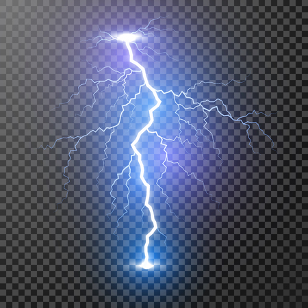 Lightning. Magic and bright light effects. Vector Illustration isolated on transparent background