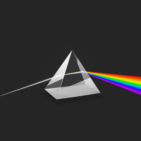 Dispersione. Spettro di luce colorato. Prisma di vetro e fascio di luce. Esperimento scientifico con la luce. Illustrazione vettoriale