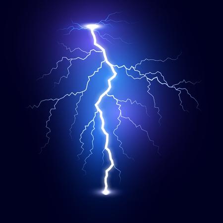 Fulmine fulmineo. Fulmine isolato su sfondo scuro. Modello di fulmine blu. Illustrazione vettoriale Vettoriali