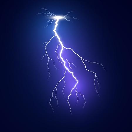 Éclair éclair. Modèle de foudre bleu. Coup de foudre isolé sur fond sombre. Illustration vectorielle