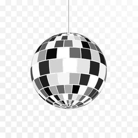 Icona della palla da discoteca. Simbolo della vita notturna. Festa in discoteca retrò. Illustrazione vettoriale isolato su sfondo trasparente Vettoriali