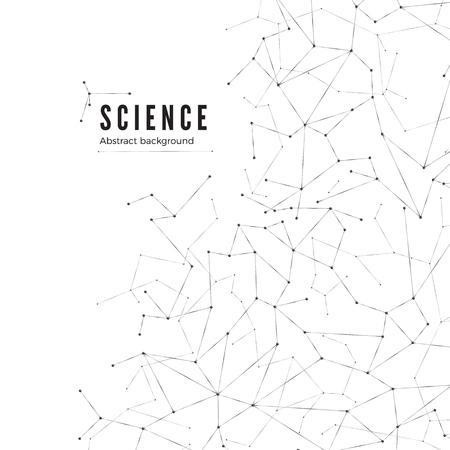 Antecedentes de la ciencia. Visualización de big data. Estructura molecular. Ilustración vectorial Ilustración de vector