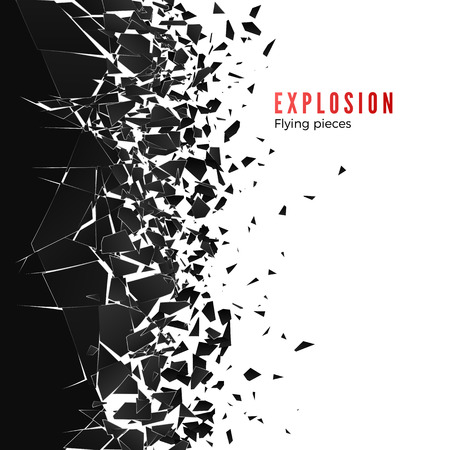 Abstract cloud of pieces and fragments after wall explosion. Shatter and destruction effect. Vector illustration Vectores