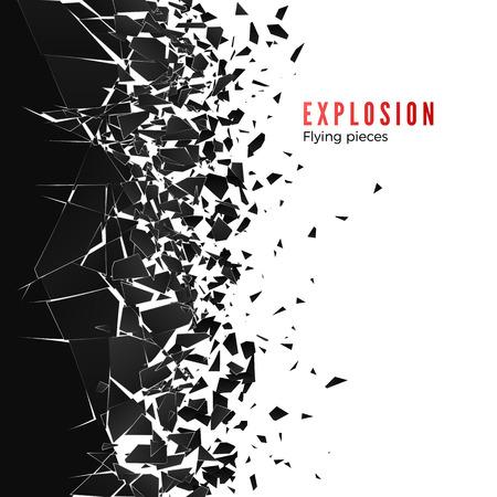 Nube abstracta de piezas y fragmentos después de la explosión de la pared. Efecto de rotura y destrucción. Ilustración vectorial