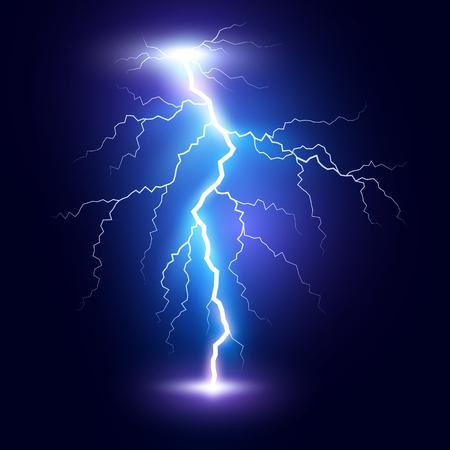 Lightning flash bolt or thunderbolt. Blue lightning or magic power blast storm. Vector illustration Illustration