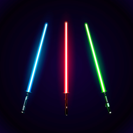 Set of realistic light swords. Abstract fantasy saber. Vector illustration isolated on dark  background Stock Illustratie