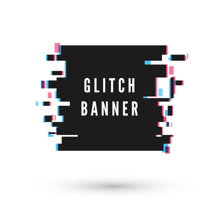 Technology square banner form in distorted glitch style. Vector illustration isolated on white background