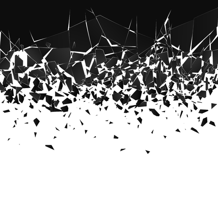 Abstract cloud of pieces and fragments after explosion. Shatter and destruction effect. Vector illustration