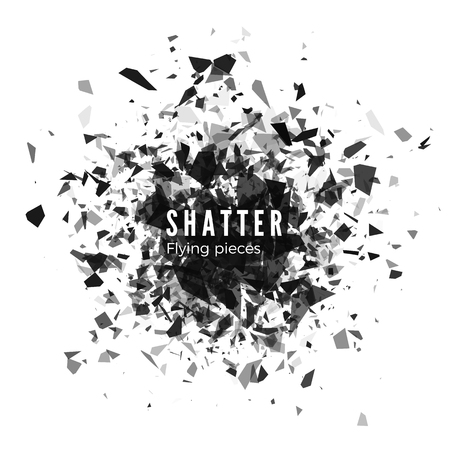 Shatter and destruction effect. Abstract cloud of pieces and fragments after explosion. Vector illustration isolated on white background Иллюстрация