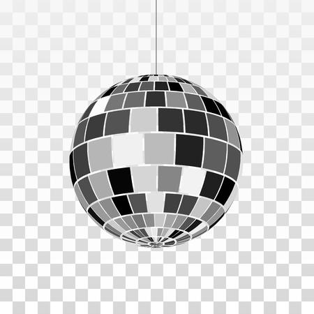 Icono de bola de discoteca o espejos. Símbolo de la vida nocturna. Fiesta disco retro. Ilustración de vector aislado sobre fondo transparente
