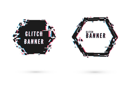 Geometric banner with distortion effect - Glitch. Hexagon shape frame. Digital technology modern poster and flyer template. Vector illustration isolated on white background