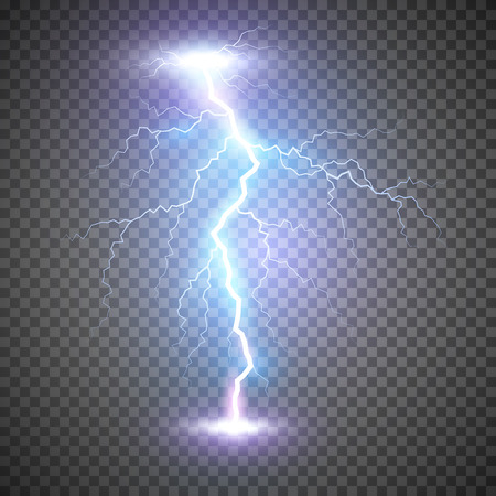 Lightning flash bolt or thunderbolt. Blue lightning or magic power blast storm. Vector illustration on transparent background Illustration