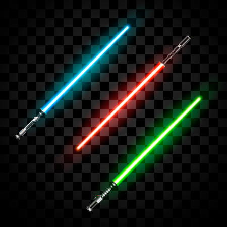 Set of futuristic light swords. Abstract fantasy saber. Vector illustration isolated on dark  background
