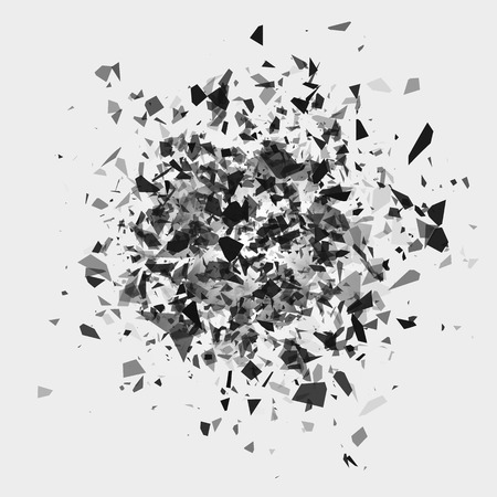 Shatter and destruction effect. Abstract cloud of pieces and fragments after flash. Vector illustration isolated on white background