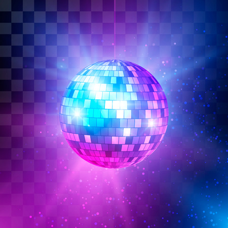Disco ball with bright rays and bokeh. Music and dance night party background. Abstract night club retro background 80s. Vector illustration Ilustração