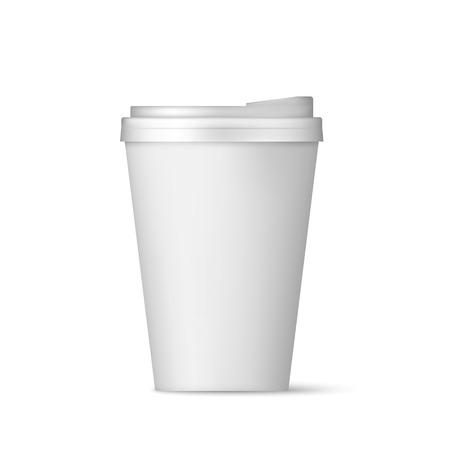 Taza de café de papel blanco realista con vista frontal de la tapa. Café para quedarse en blanco. Ilustración de vector aislado sobre fondo blanco.