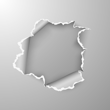 Torn hole in sheet of paper on transparent background with space for text. Vector illustration