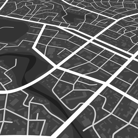 Abstract black city map. Print with town topography. City residential district scheme. City district plan. vector illustration Vektorgrafik