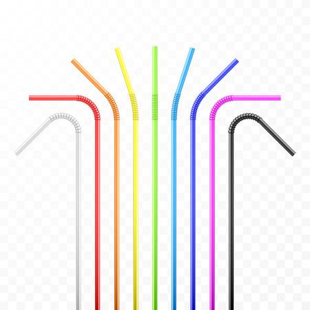 Ensemble de paille à cocktail flexible colorée arc-en-ciel. Illustration vectorielle isolée sur fond transparent
