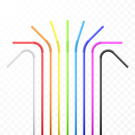 Set of rainbow colorful flexible cocktail straw. Vector illustration isolated on transparent background Vettoriali