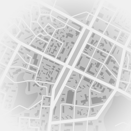 Abstract city map. Print with town topography. City residential district scheme. Vector illustration Vektorgrafik