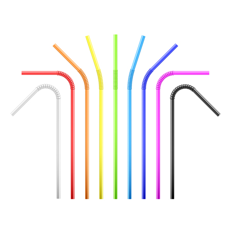 Set of rainbow colorful flexible cocktail straw. Vector illustration isolated  Ilustração