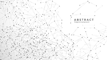 Fond de particules abstraites. Réseau de mess. Motif atomique et moléculaire. Nœuds connectés en web. Big Data futuriste du réseau de plexus. Illustration vectorielle isolée sur fond blanc