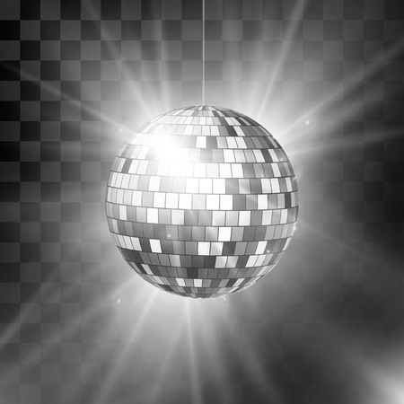 Disco ball with bright rays and bokeh. Music and dance night party background. Abstract night club retro background 80s and 90s. Vector illustration isolated on transparent background