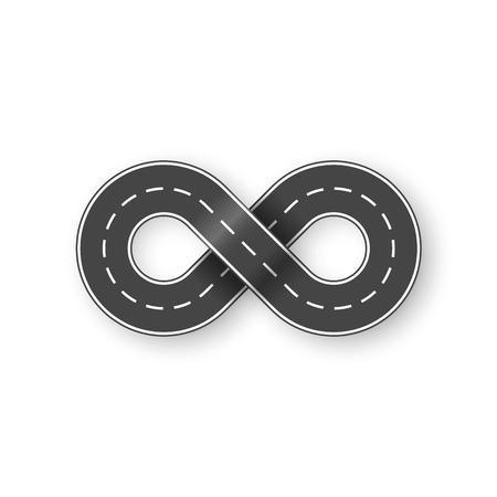 Strada infinita a forma di segno di infinito. Concetto di trasporto grafico. Illustrazione vettoriale isolato su sfondo bianco