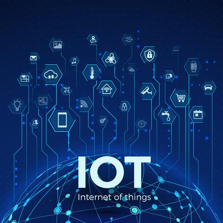 Internet van dingen. IOT pictogrammen concept. Wereldwijde netwerkverbinding. Bewaken en besturen van slimme systemen. vector illustratie