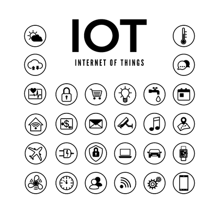 IOT icons set. Internet of things pictogram collection. Smart system remote monitoring and control. Vector illustration isolated on white background