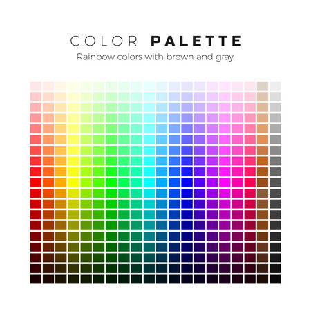 Colorful palette. Set of bright colors of rainbow palette. Full spectrum of colors with brown and gray shades. Vector illustration Векторная Иллюстрация