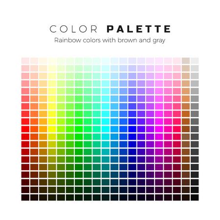 Tavolozza colorata. Set di colori vivaci della tavolozza arcobaleno. Gamma completa di colori con sfumature marroni e grigie. Illustrazione vettoriale Vettoriali