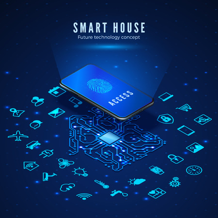Smart House Concept. Smartphone with Fingerprint on Screen and Icons Set. Smart Home Monitoring and Control Systems. Vector Illustration