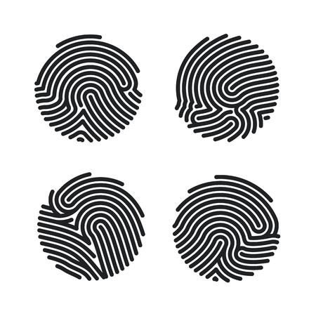 Conjunto de diseño de iconos de huellas dactilares de círculo para aplicación. Escaneo plano de huellas dactilares. Identificación personal para autorización. Ilustración de vector aislado sobre fondo blanco.