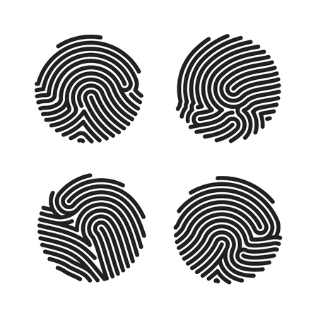 Set of Circle Fingerprint icons design for app. Finger print flat scan. Personal Id for authorization. Vector illustration isolated on white background